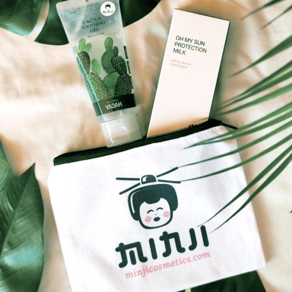 Yadah fényvédő tej és nyugtató gél nyári arcápolás Minji cosmetics